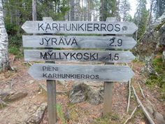 Pieni Karhunkierros, Oulangan kansallispuisto, Kuusamo. 12 km:n upea maisemareitti kuohuvine koskineen ja jyrkkine kallioineen.