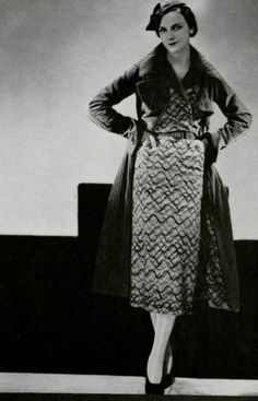 Vintage Chanel, 1932.  Coat in ribbed red velvet.  Dress and coat lining in Chanel's iconic jersey.