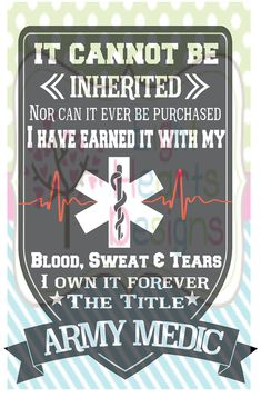 Army Medic Pledge by EightHeartDesigns on Etsy