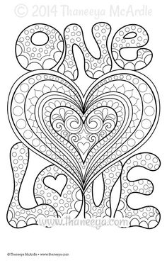 One Love Coloring Page By Thaneeya McArdle FostergingerPinterestComMore Pins Like This