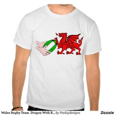 Wales Rugby Team  Dragon With Rugby Ball Tees