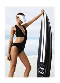 Chanel Photoshoot. Surfboard. Swimsuit.