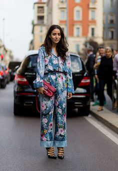 Tamara Kalinic wearing a jumpsuit with floral print is seen outside Alberta Ferretti during Milan Fashion Week Spring/Summer 2017 on September 21...