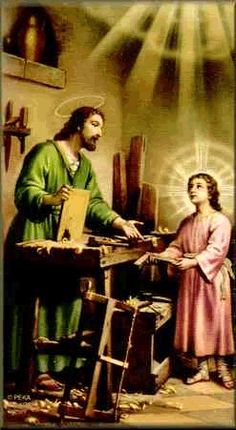 Saint Joseph in work shop with Jesus