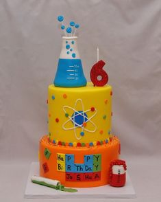 Chemistry cake from Cake in a Cuppy NY. How cute are all the layers with all the… Chemistry cake from Cake in a Cuppy NY. How cute are all the layers with all the science! Science Cake, Mad Science Party, Mad Scientist Party, Science For Kids, Earth Science, Chemistry Cake, Chemistry Drawing, Chemistry Quotes, Chemistry Tattoo