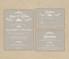 DIY unique Wedding Invitations Templates | Wedding Invitation and RSVP -Printable DIY. Modern vintage, rustic ...