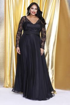 Kurves By Kimi Plus Size Black Lace-Sleeve A-line Long Gown 7002