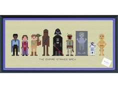 Star Wars The Empire Strikes Back Cross Stitch pattern by knottybytes. $5. Lando Calrissian, Princess Leia, Luke Skywalker, Yoda, Chewbacca, Darth Vader, Boba Fett, Han Solo in Carbonite, R2-D2, C-3PO.