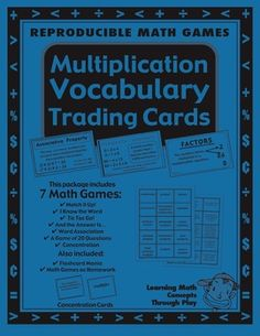 Multiplication - Math Vocabulary Trading Cards - 26 pages - Math words build a foundation of math understanding.  Use whole class and particularly ...