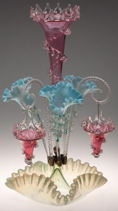 VICTORIAN GLASS EPERGNE made in Czechoslovakia 1901