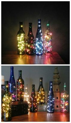 Fill bottles with string lights.Drill a hole in the bottom of an empty wine bottle and thread the cord through, then fill the bottle with string lights. This effect works well with multiple bottles. Such a beautiful DIY craft project Creative Crafts, Diy And Crafts, Creative Things, Wooden Crafts, Jar Crafts, Creative Decor, Light Decorations, Christmas Decorations, Diwali Decorations