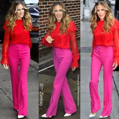 """1,267 Likes, 10 Comments - Britta Kristiansen (@brittalovesfashion) on Instagram: """"More pink and red combo - but this from back then! Do you remember Sarah Jessica Parker here back…"""""""