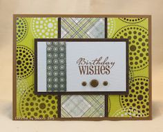 Handmade masculine birthday card featuring patterned papers from the #BasicGrey Marjolaine collection and stamps from #verve