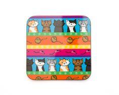 DoodleCats Shop - Colourful Cats Coaster, €4.70 (http://www.doodlecatsshop.co.uk/colourful-cats-coaster/)
