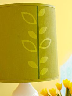 Fix up an old lamp shade with paint and stencils!