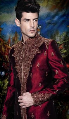 G3 fashions Maroon Embroidered Jacquard Sherwani  Product Code : G3-MSH10000131 Price : INR RS 15273