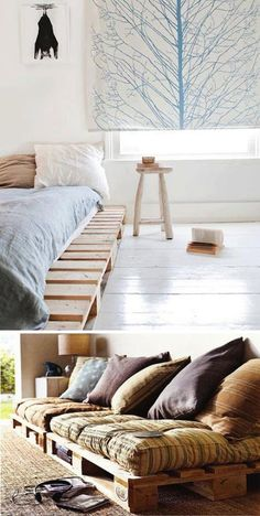 Decorating ideas with wood pallets. Wood Pallet Furniture, Wood Pallets, Diy Furniture, Pallet Bench, Pallet Wood, Palette Deco, Furniture Inspiration, New Room, Sweet Home