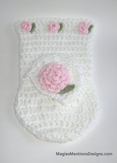 Newborn Baby Cocoon and Cap with pretty pink rosebuds - Perfect for Baby Shower Gift, Photo Prop - Handmade Crochet by MagiesMentions, $44.00