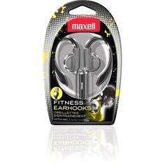 Maxell Black Silver EarHook Sweat Proof Fitness Earphones forSmartphone with Mic #Maxell #EarHookHearphones