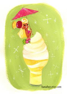 This is a print of an original painting inspired by the delicious Dole whip dessert. Each 5x7 print comes in a protective plastic sleeve, stiff backing