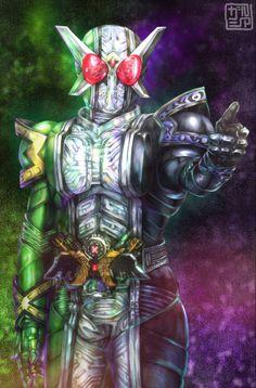 Kamen Rider W, Kamen Rider Series, Power Rangers, Pixiv, Joker, Marvel, Artwork, Fictional Characters, Work Of Art