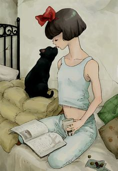 a girl a book a cat