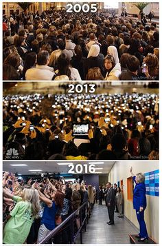2005: Pre-mobile, 2013: Pre-selfie, 2016: Post-selfie