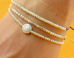 Rose gold beads bracelet .Blue jeans por Zzaval en Etsy