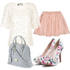SPRING/SUMMER lace top + pink skirt + floral heels. Love the heels!