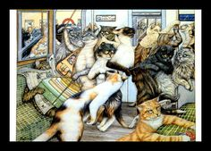 Zoe Stoles Funny Cat Art Print Original by VintagePrintStore