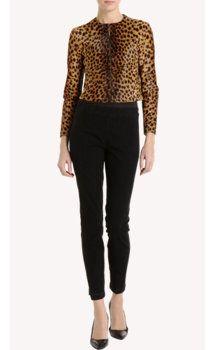 Barneys New York Cropped Leopard Print Jacket