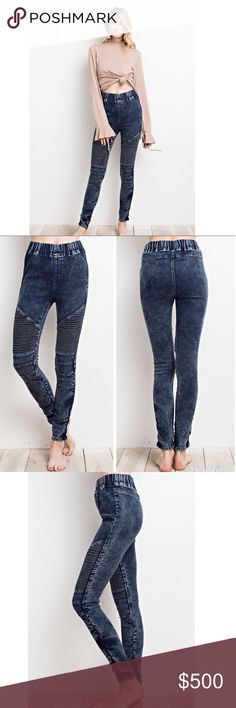 COMING 2/23 💕 Washed Denim Moto Jeggings You'll never want to take off these comfortable jeggings. These washed denim jeggings feature an elastic waistband, super stretchy fabric, and pleated moto detailing at the knees.  76% cotton 22% polyester 2% spandex Jeans
