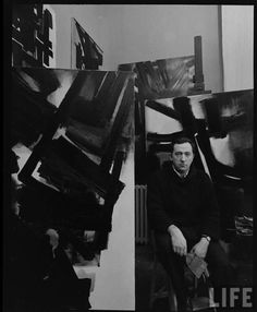 Pierre Soulages in his Studio (Atelier)    Photo by Dmitri Kessel