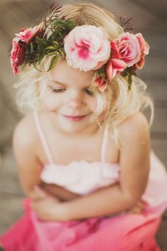 floral head piece by Adornments Flowers & Finery for the flower girls maybe Wedding Pics, Wedding Flowers, Dream Wedding, Wedding Day, Wedding Dresses, Hair Flowers, Wedding Bouquet, Trendy Wedding, Gold Wedding