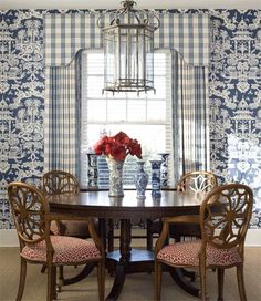 """Brunschwig & Fils' """"Lhasa"""" wallpaper used to perfection in this charming blue and white dining room by Crowder Designs."""