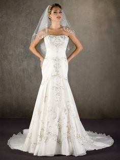 2012Mermaid Strapless Beaded Satin Tulle Bridal Dress W1043 $269.99