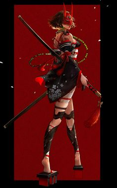 A kunoichi with an Oni Mask becomes the sexiest Ninja to kill Fantasy Character Design, Character Design Inspiration, Character Concept, Character Art, Anime Art Girl, Manga Art, Fantasy Characters, Female Characters, Fictional Characters