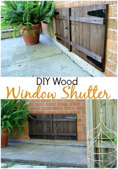 DIY stained wood shutter, made from reclaimed wood, hiding an ugly basement window. #diy