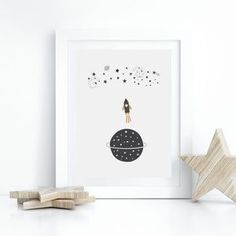 Outer space nursery ideas from Sunny and Pretty. Rocket, stars, and planets poster perfect for kid's room decor or playroom wall art. Nursery art and nursery prints to complete your nursery decor project. Our nursery wall art is made with love and is designed to reflect your nursery wall decor style. 🖤 Get excited about decorating for your little one! #sunnyandpretty Nursery Artwork, Nursery Paintings, Nursery Wall Decor, Nursery Prints, Room Decor, Boy Nursery Themes, Nursery Ideas, Room Ideas, Outer Space Nursery