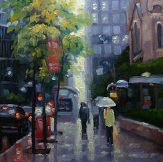 October Rain, King Street West, Toronto by Catherine Jeffrey, Oil Toronto Street, Street Painting, 3 Arts, Edd, Art Images, Photo Art, October, Rain, Miniatures