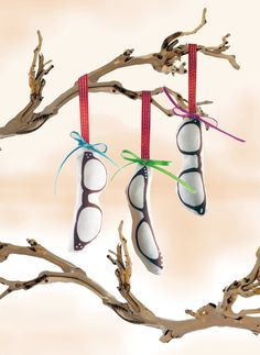 Vintage Glasses Frames Fabric Ornaments