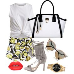 Simple edge. by zosobe on Polyvore featuring VILA, Schutz, Black Rivet, Rolex, Fendi and Lime Crime