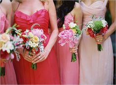 Spring is in the air! Amsale bridesmaids wear silk crinkle chiffon gowns in guava, coral and blush. Photo via Wedding Chicks Amsale Bridesmaid, Mismatched Bridesmaid Dresses, Pink Bridesmaids, Wedding Beauty, Dream Wedding, Wedding Attire, Wedding Dresses, Wedding Flower Inspiration, Wedding Styles