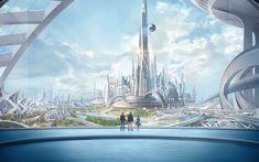 Photo Tomorrowland 2015 Fantasy film Fantastic world Fantasy City, Fantasy Places, Sci Fi Fantasy, Fantasy World, Tomorrow Land, Futuristic City, Futuristic Architecture, Future City, Sci Fi Stadt