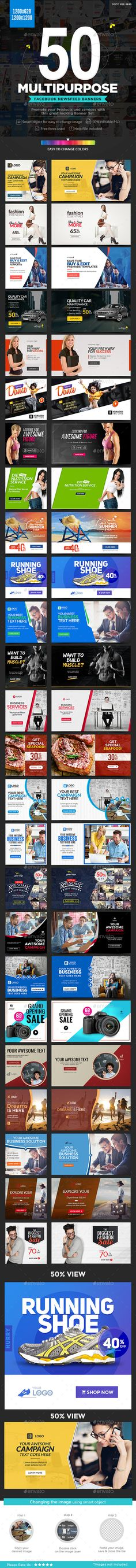 Facebook Newsfeed Ad Banners - 25 Designs - 2 Sizes Each