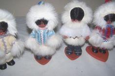 Vintage 4 Celluloid Eskimo Dolls with Stand Souvenir Red Blue White Cream