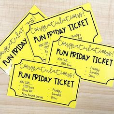 Golden tickets mean it's FRIDAY! When my students complete their choice boards or Lexia and any extra work throughout the week, they earn a gold… 3rd Grade Classroom, Kindergarten Classroom, Future Classroom, Classroom Activities, Classroom Ideas, Primary Classroom, Classroom Displays, Reading Activities, Classroom Rewards