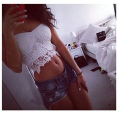 Lacey white crop top and super cute Jean cut off shorts. Perff for summer