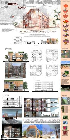Proyecto de hostal en la colonia Roma Plan Concept Architecture, Collage Architecture, Architecture Portfolio Layout, Architecture Model Making, Architecture Board, Design Portfolio Layout, Architecture Design, Interior Design Presentation, Architecture Presentation Board