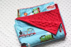 Thomas the TRAIN Blanket with Minky Back Toddler by SugarSnapKids, $49.00